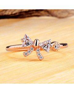 Bow Shaped Rose Gold Plated 0.2 Ct Diamond Women Ring