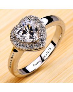 0.6 Ct Diamond Wedding Ring for Her with Names Engraved
