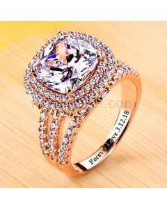 4 Ct Diamond Promise Ring for Her Rose Gold Plated