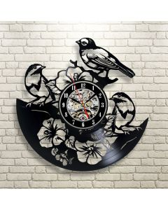 Decorative Floral Birds Theme Vinyl Clock for Drawing Room Wall