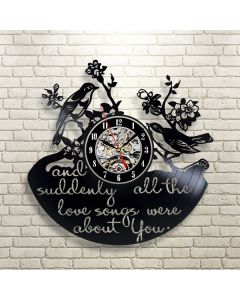Decorative Floral Birds Vinyl Clock Gift for New House Wall